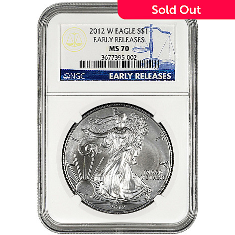 432-414 - 2012 Silver American Eagle MS70 Early Release NGC Burnished Silver Dollar Coin