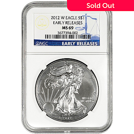 432-417 - 2012 Silver American Eagle MS69 Early Release NGC Burnished Silver Dollar Coin