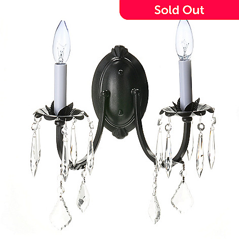 432-507 - Gallery 11'' Wrought Iron & Crystal Wall Sconce