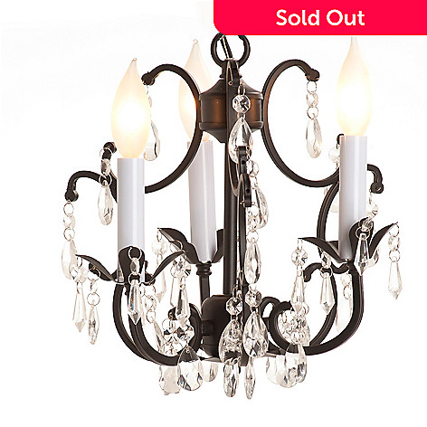 432-509 - Gallery 11'' Wrought Iron & Crystal Chandelier