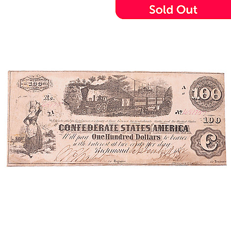 432-516 - 1862 Circulated $100 Confederate Train Note