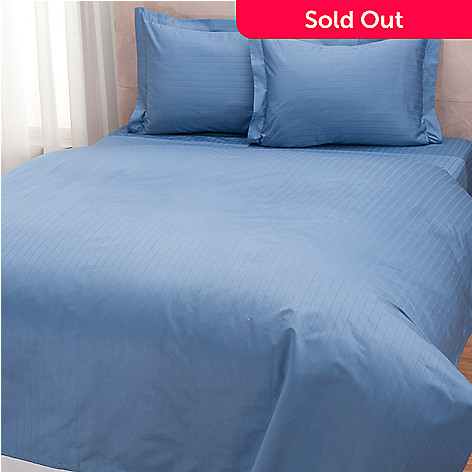 432-559 - North Shore Linens™ Three-Piece 1000TC Egyptian Cotton Striped SureSoft® Duvet Set