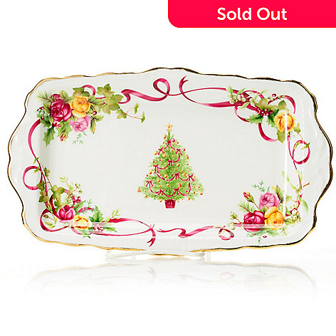 432-560 - Royal Albert Old Country Roses 11-1/2'' Holiday Bone China Sandwich Tray