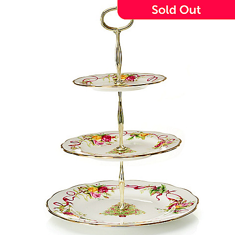 432-562 - Royal Albert Old Country Roses 14'' Holiday Bone China 3-Tier Cake Stand