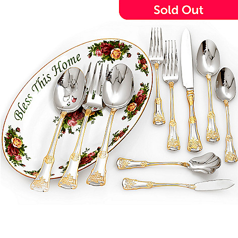 432-564 - Royal Albert Old Country Roses 65-Piece Flatware Set w/ 11.75'' Porcelain Platter