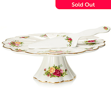 432-565 - Royal Albert Old Country Roses Cake Server & Footed Cake Plate Set