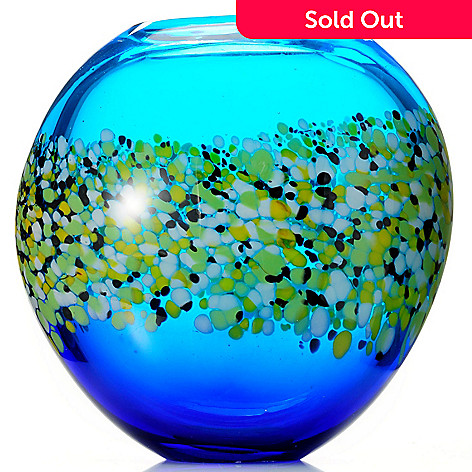 432-573 - Favrile Poppy Field 11'' Hand-Blown Art Glass Vase