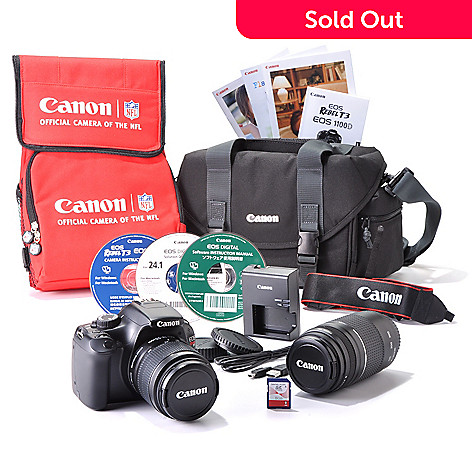 432-686 - Canon EOS Rebel T3 12MP Camera w/ Two Lenses, Case, 8GB SDHC Card & Cooler Bag