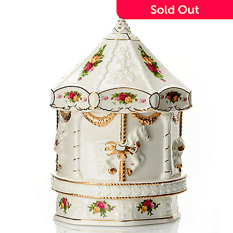432-817 - Royal Albert Old Country Roses Porcelain 8'' Musical Carousel