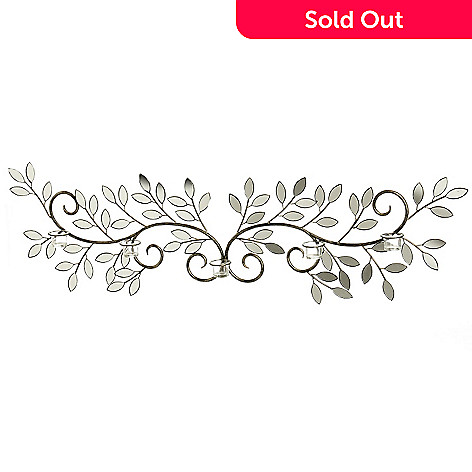 432-962 - Style at Home with Margie 55.75'' Winged Leaves Mirrored Wall Décor w/ Candle Holders