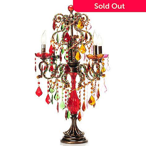 432-965 - Style at Home with Margie 32.5'' Beaded Carnival Crystal Candelabrum Table Lamp