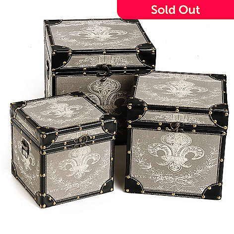 432-974 - Style at Home with Margie Set of Three Fleur-de-lis Nesting Trunks