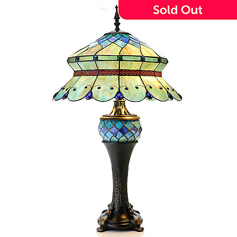 432-978 - Tiffany-Style 30.5'' Verde Double Lit Stained Glass Table Lamp