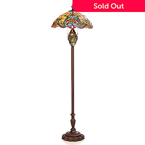 432-983 - Tiffany-Style 62.5'' Fleur-de-lis Double Lit Stained Glass Floor Lamp