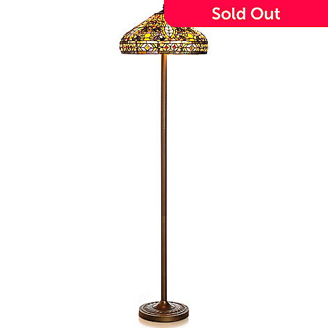 432-984 - Tiffany-Style 66.5'' Blanchefeld Peacock Stained Glass Floor Lamp
