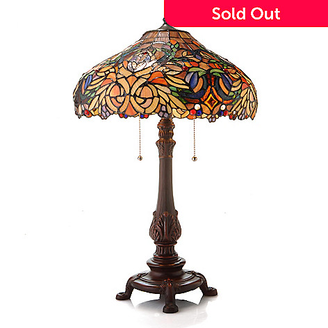 432-985 - Tiffany-Style 25.5'' Cavanaugh Edwardian-Style Stained Glass Table Lamp