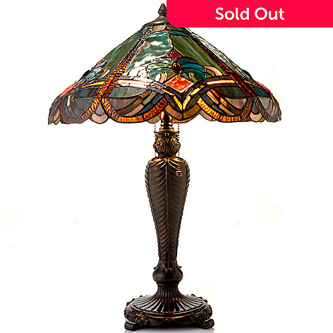 432-988 - Tiffany-Style 25'' Flattesbury Baroque-Inspired Stained Glass Table Lamp