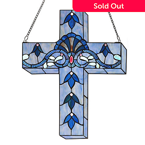 432-990 - Tiffany-Style 20'' Allistar Cross Stained Glass Window Panel