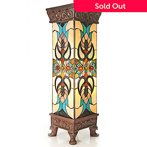 432-994 - Tiffany-Style 29'' Tanclory Floral Stained Glass Lit Pedestal
