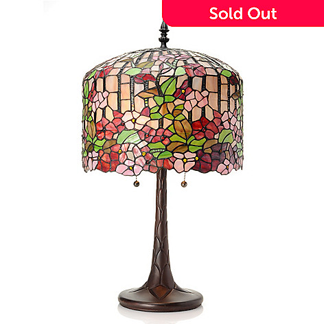 432-998 - Tiffany-Style 25.5'' Cherry Tree Stained Glass Table Lamp