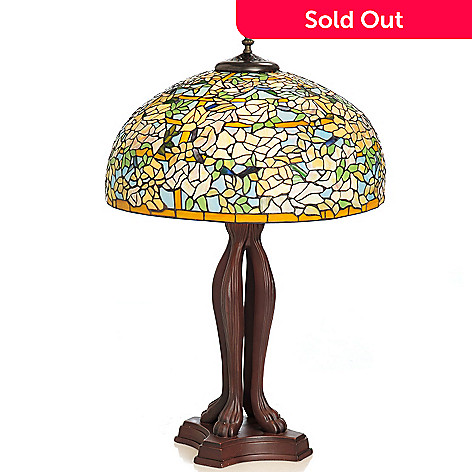 433-000 - Tiffany-Style 36'' Elaborate Rose Stained Glass Table Lamp