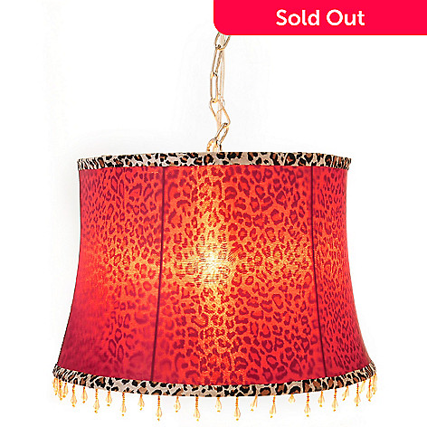 433-001 - Style at Home with Margie 10'' Scarlet Leopard Beaded Hanging Lamp