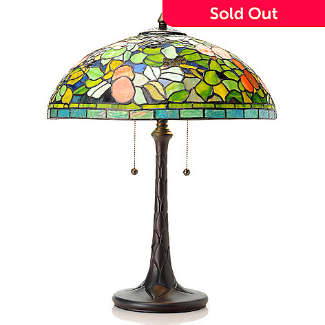 433-002 - Tiffany-Style 23.5'' Fruit Stained Glass Table Lamp