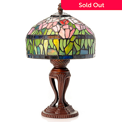 433-006 - Tiffany-Style 13.5'' Tulip Stained Glass Table Lamp