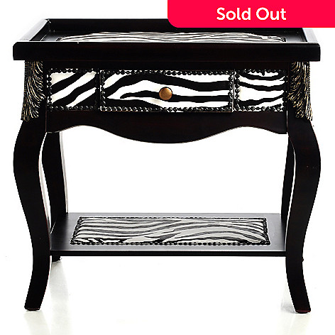 433-007 - Style at Home with Margie 23'' Grevy's Zebra Upholstered Side Table