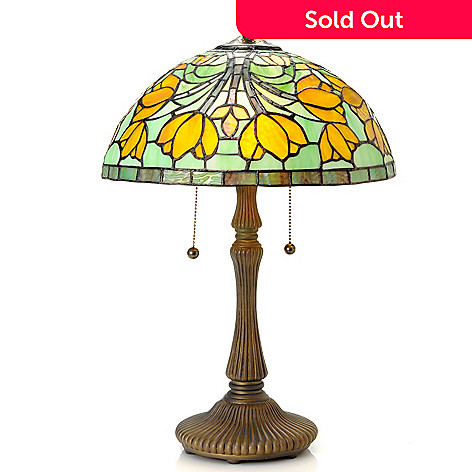 433-014 - Tiffany-Style 19.5'' Crocus Stained Glass Table Lamp