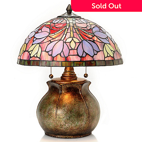 433-020 - Tiffany-Style 17.5'' Crocus Stained Glass Table Lamp