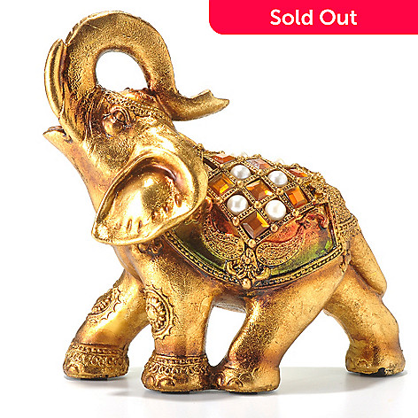 433-021 - Style at Home with Margie 8.27'' Hand Painted Golden Jeweled Elephant Figurine
