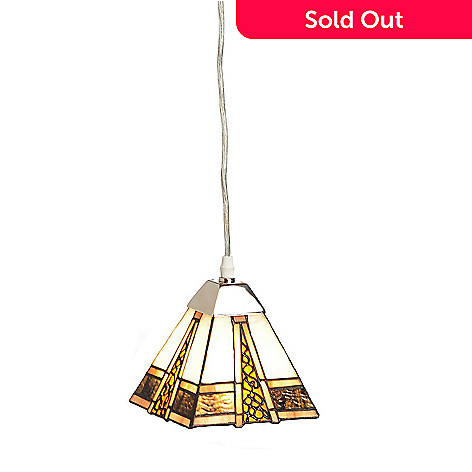 433-022 - Tiffany-Style 6'' Ayshe Stained Glass Hanging Pendant Lamp