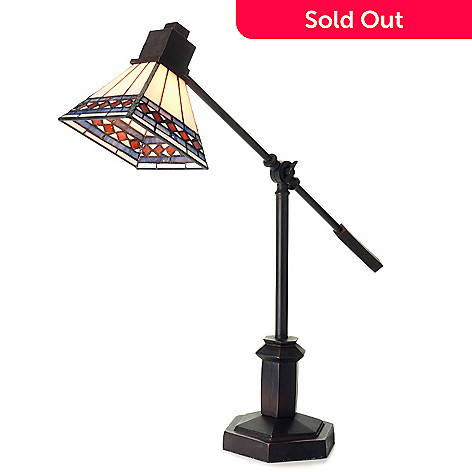 433-026 - Tiffany-Style 24'' Scarlet Diamonte Stained Glass Desk Lamp w/ Adjustable Arm