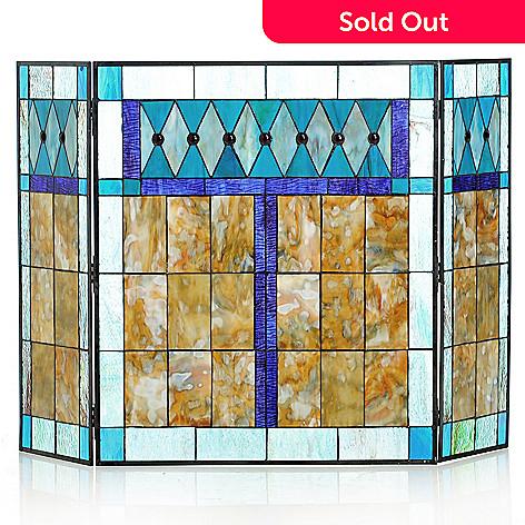 433-029 - Tiffany-Style 29'' Mottled Diamonte Decorative Stained Glass Fireplace Screen
