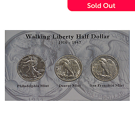 433-086 - Walking Liberty 1916-1947 Silver Circulated Three-Piece Coin Set