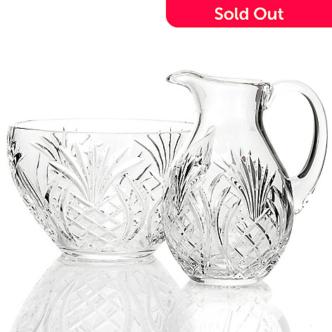 433-258 - Waterford Crystal Pineapple Hospitality Pitcher & Bowl Set