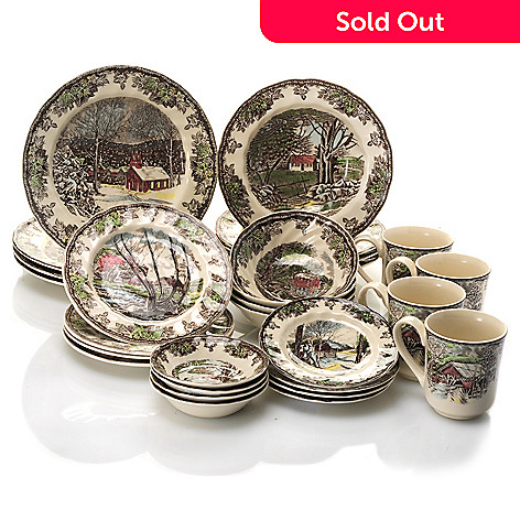433-260 - Johnson Brothers Friendly Village 28-Piece Earthenware Dinnerware Set