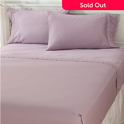 433-263 - North Shore Linens™ 400TC Egyptian Cotton Ribbon Lace 4-Piece Sheet Set