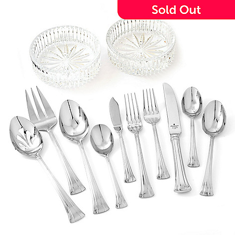 433-270 - Waterford Crystal 65-Piece Stainless Steel Flatware Set w/ Two Wine Coasters