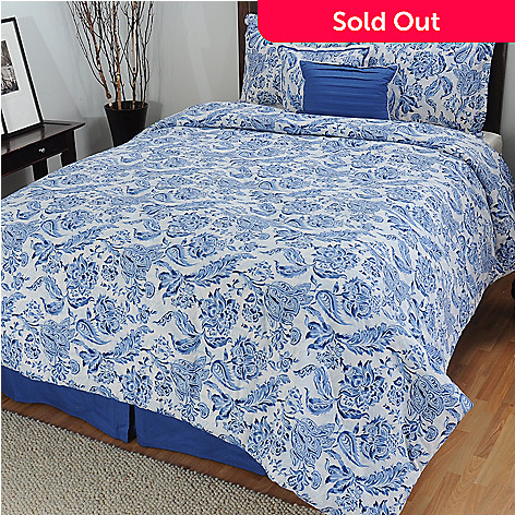 433-712 - North Shore Linens™ 200TC ''Indigo'' Cotton Six-Piece Bedding Ensemble