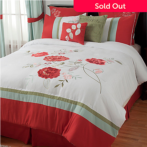 433-713 - North Shore Linens™ ''Coral Garden'' Eight-Piece Bedding Ensemble