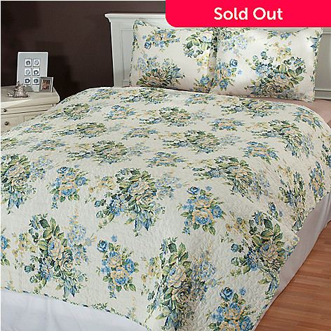 433-717 - North Shore Linens™ ''Bouquet'' Three-Piece Reversible Coverlet Set