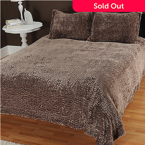 433-730 - North Shore Linens™ ''Pebble'' Faux Fur Three-Piece Coverlet Set