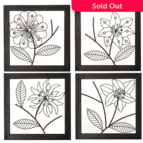 433-912 - Style at Home with Margie 14'' Blingette Floral Set of Four Wall Decor Frames