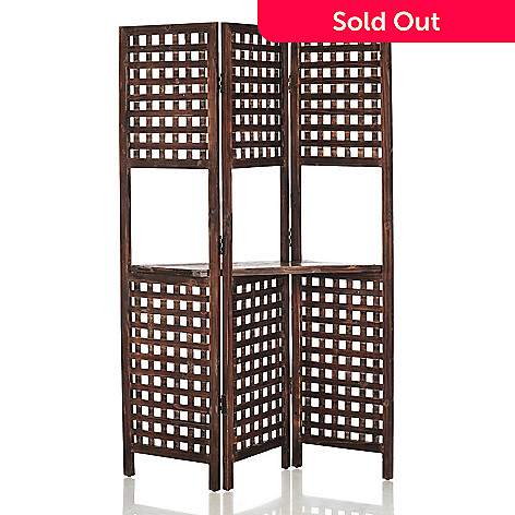 433-920 - Style at Home with Margie 70'' Latticework Three-Panel Floor Screen