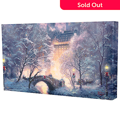 433-924 - Thomas Kinkade ''Holiday at Central Park'' 31'' x 16'' Gallery Wrap