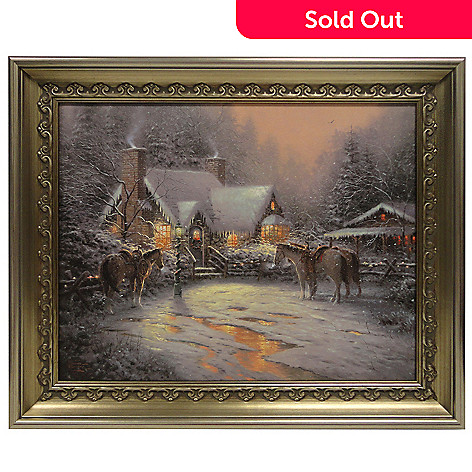 433-931 - Thomas Kinkade ''Christmas Welcome'' 16'' x 20'' Framed Textured Print