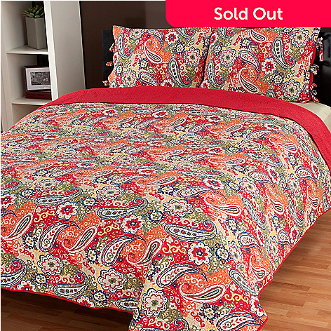 434-053 - North Shore Linens™ ''Colonial Paisley'' Three-Piece Quilt Set