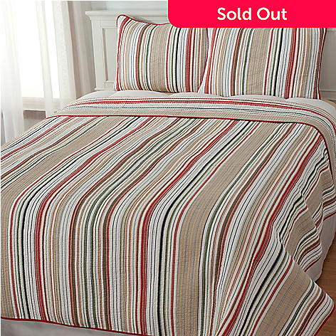 434-056 - North Shore Linens™ ''Mesa Stripe'' Three-Piece Quilt Set